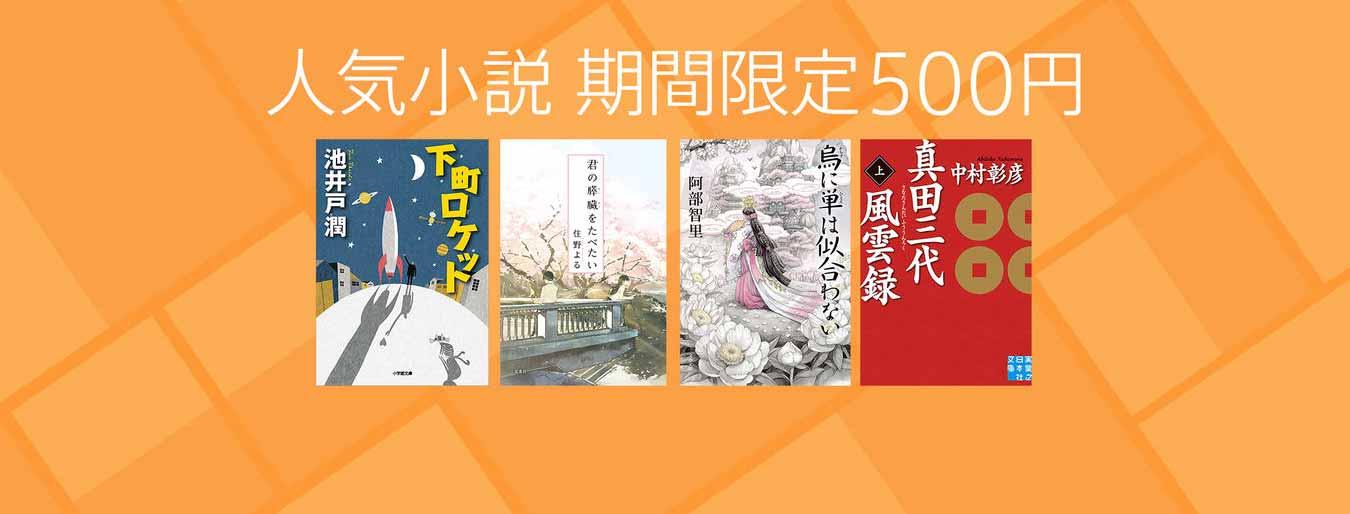 iBookStore、下町ロケットなど人気小説を500円で販売する「人気小説 期間限定500円」キャンペーン実施中