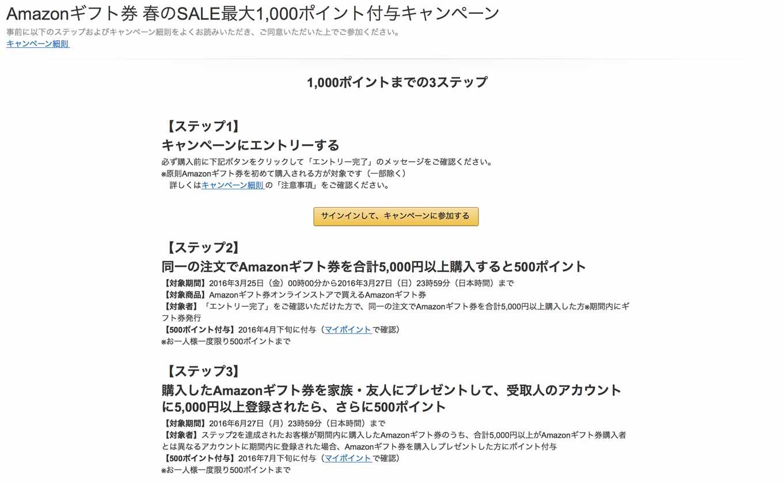 Amazon、「Amazonギフト券」5,000円購入で最大1,000ポイントが貰えるキャンペーン実施中(2016年3月27日まで)