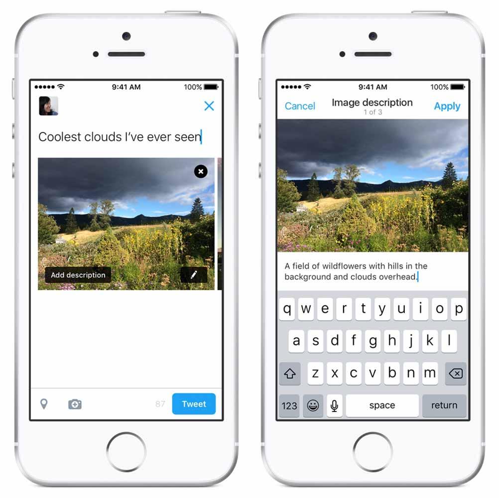 Twitter、画像の説明も加えることが出来ることが可能になったと発表