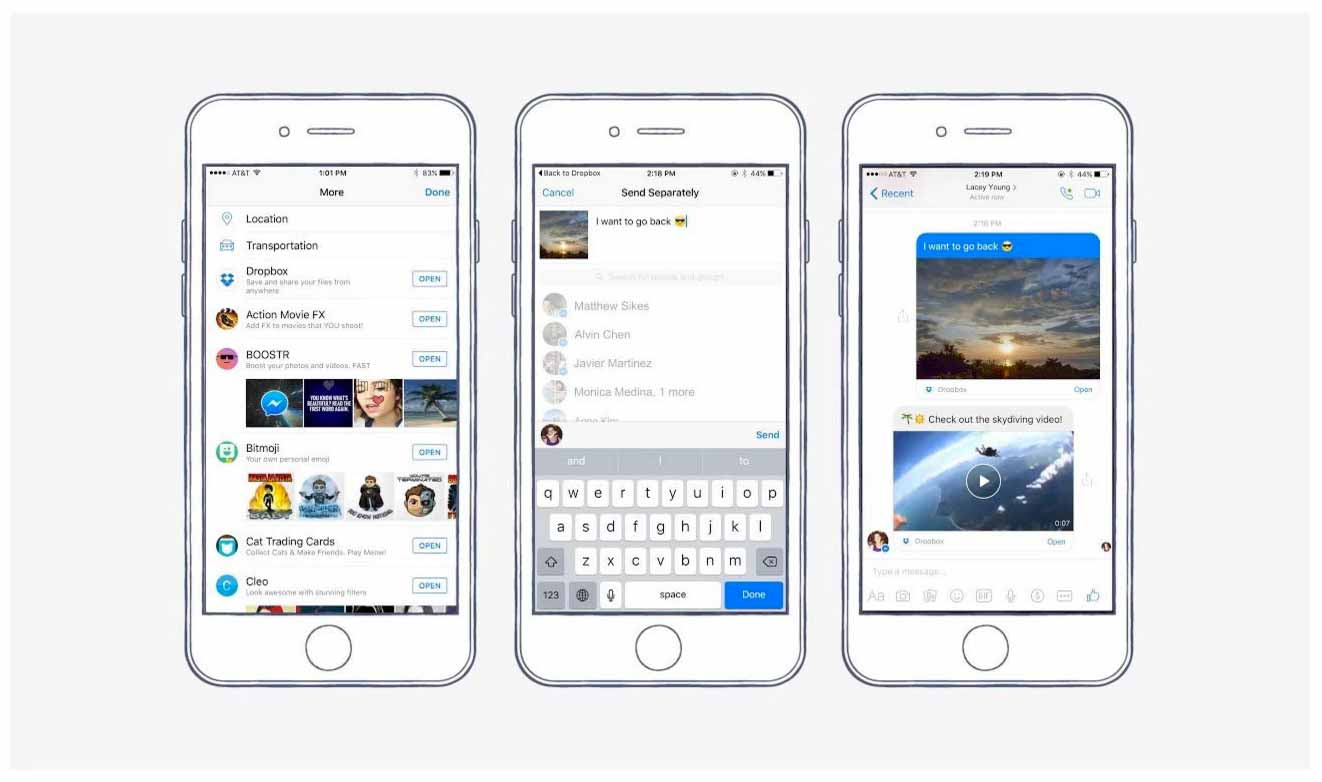 Facebook MessengerアプリがDropboxからファイル直接共有可能に
