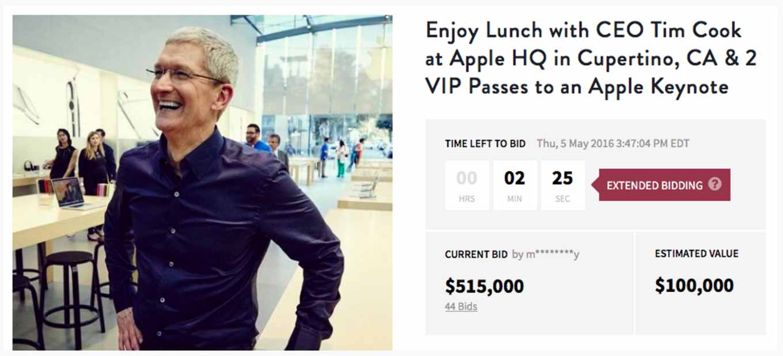 Tim Cook氏とランチができ、スペシャルイベントに招待される権利は515,000ドル(約5,500万円)で落札