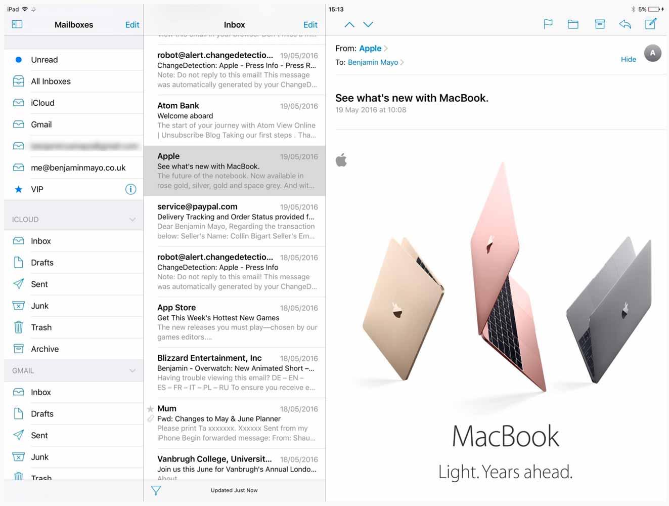「iOS 10」では「12.9インチiPad Pro」のみメールやメモアプリで3ペインビューを追加