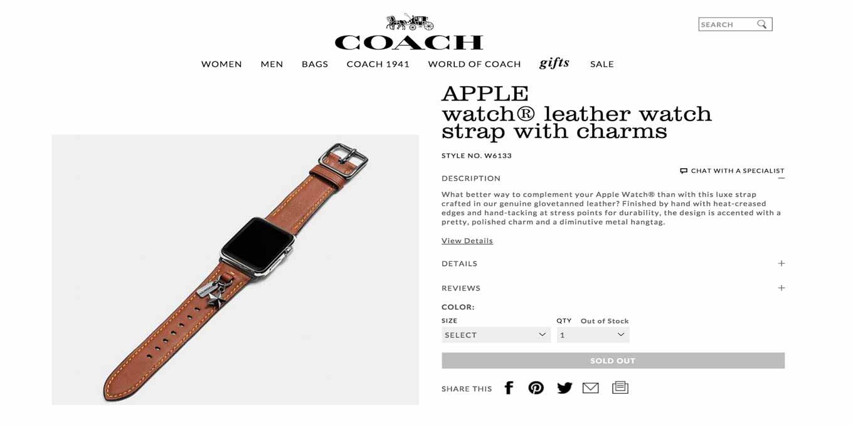 やはりCOACHが「Apple Watch」バンドを販売へ、公式サイトでページを準備