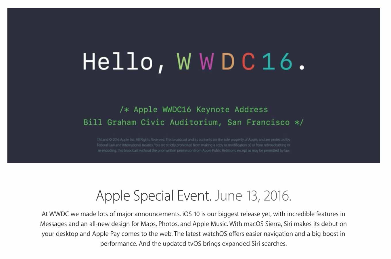 Apple、「WWDC 2016」の基調講演の動画や各OSの新機能を紹介した動画を公開