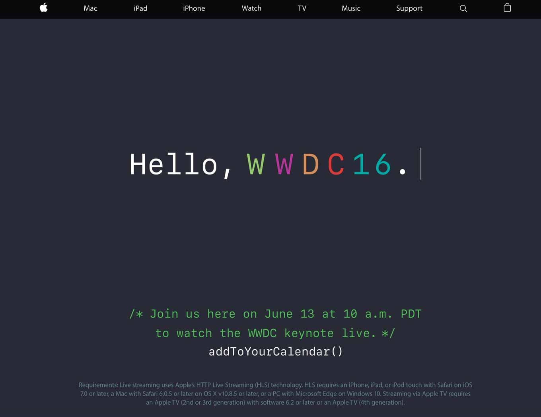 Apple、「WWDC 2016」の基調講演のライブストリーム配信することを発表、ライブページをオープン
