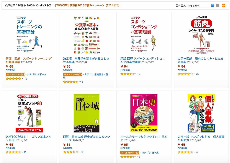 【70%OFF】Kindleストア、「西東社2016年夏キャンペーン」実施中(7/14まで)