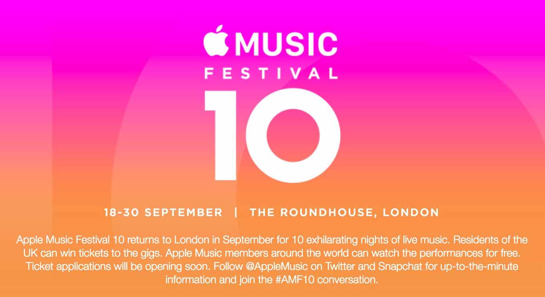 Apple、9月18日から音楽イベント「Apple Music Festival 10」をロンドンのRoundhouseで開催