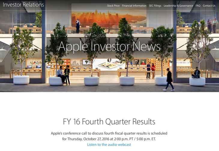 Apple、2016年第4四半期(7月〜9月期)の決算発表を10月27日に行うと発表