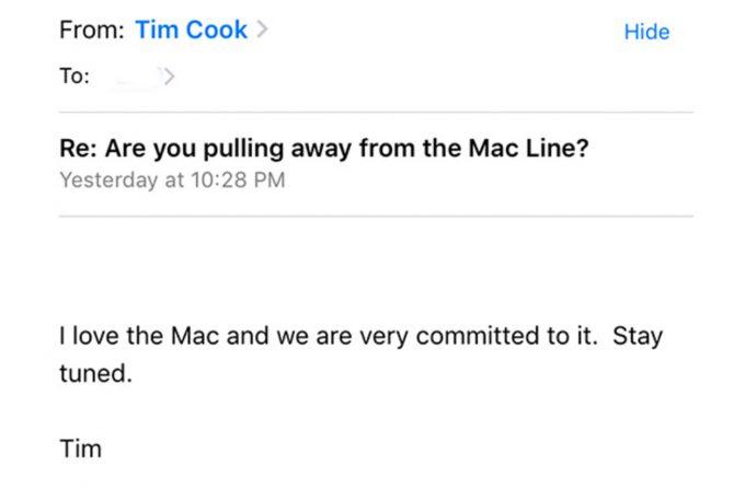 Tim Cook氏、Macについて問い合わせたユーザーからのメールに対して「Stay tuned.」と返信!?
