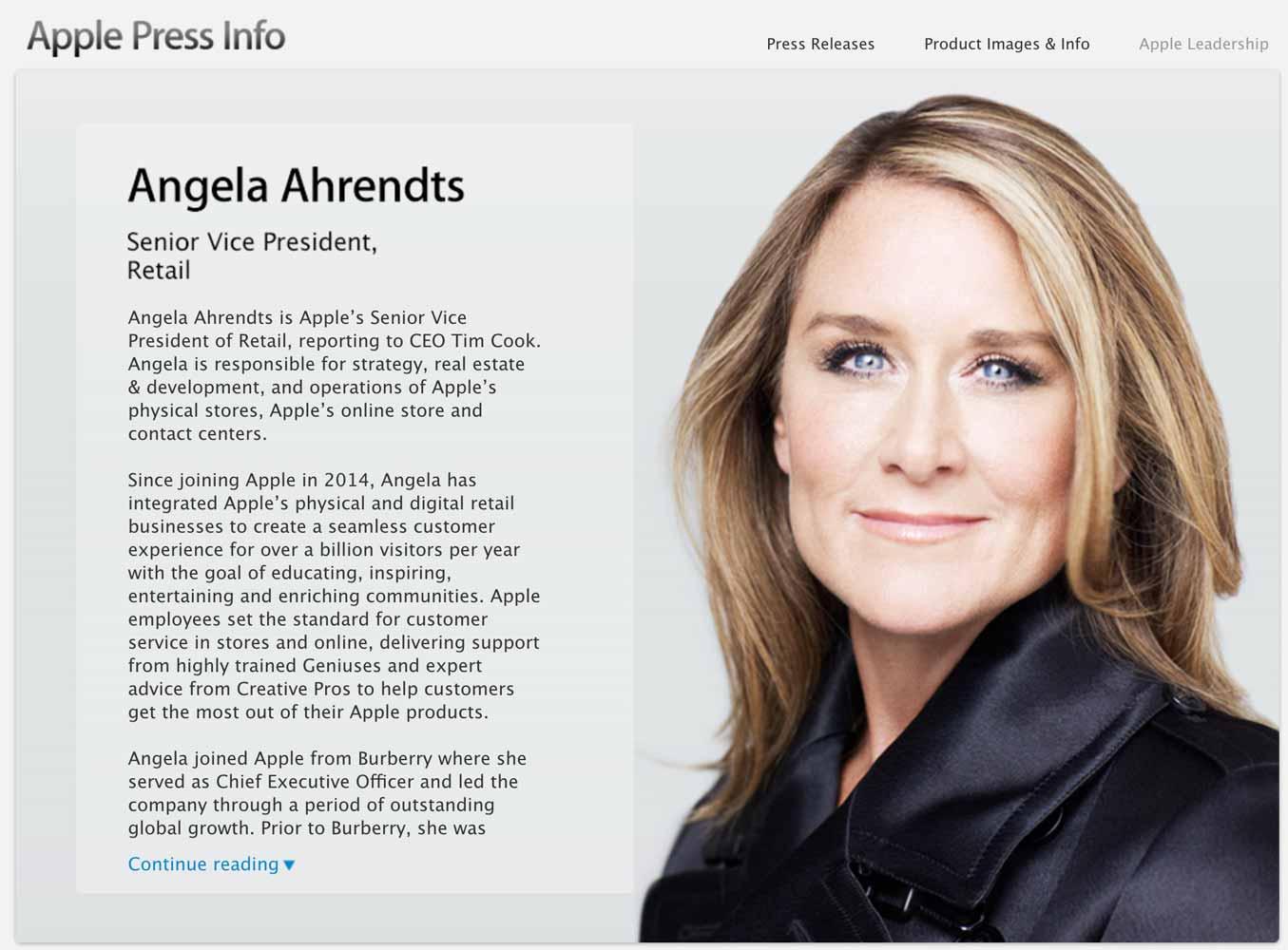 Apple、シニアヴァイスプレジデントAngela Ahrendts氏の肩書きから「Online Stores」の表記を削除
