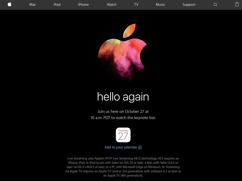 Apple、現地時間10月27日にスペシャルイベントの開催を正式発表 〜 新型「MacBook Pro」などを発表へ