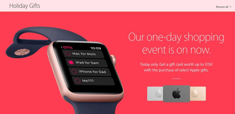 Apple、アメリカでも「ブラックフライデーセール」を開始 ― 購入製品に応じて最大150ドルのApple Gift Cardを提供