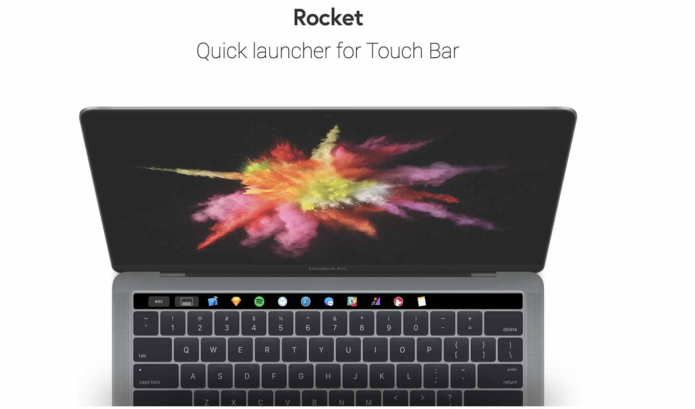 Touch BarにDockと起動中のアプリを表示できるアプリ「Rocket」