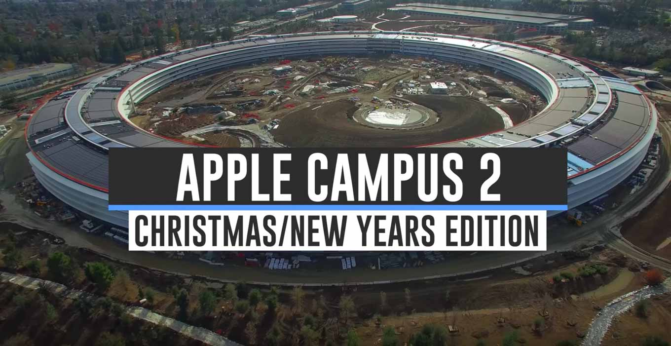 Appleの新社屋「Apple Campus 2」建設現場の最新空撮動画(Christmas/New Years)