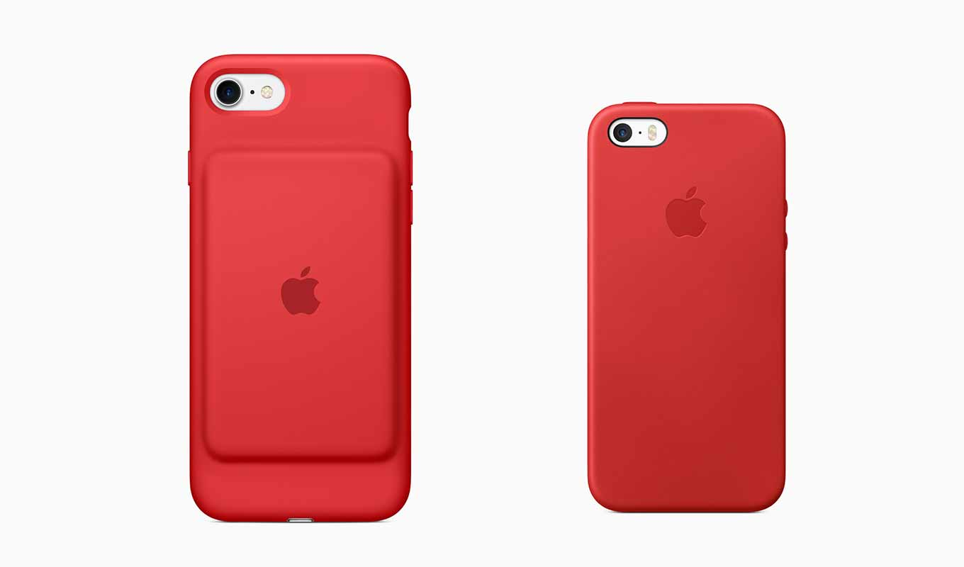 Apple Store、「iPhone 7 Smart Battery Case」「iPhone SEレザーケース」の(PRODUCT)REDモデルの販売開始