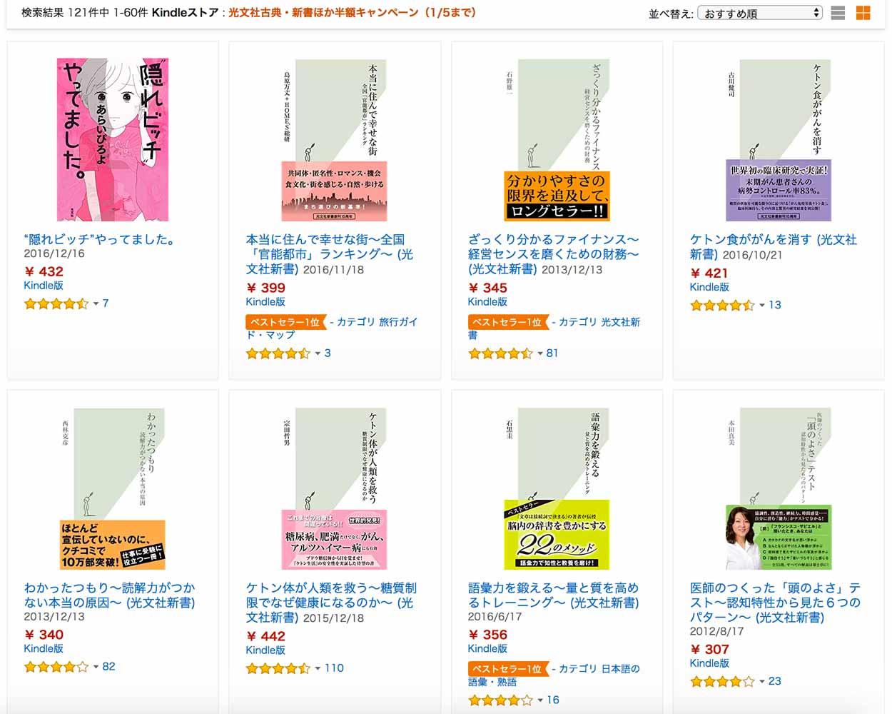 【50%OFF】Kindleストア、「光文社 Kindle本セール」実施中(1/5まで)