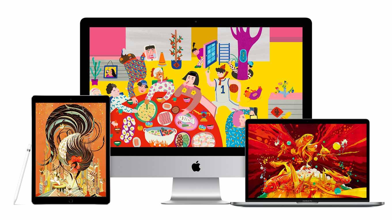 Apple、中国などで旧正月向けに中国の5人の若いアーティストがiPadやMacで作成した壁紙を公開