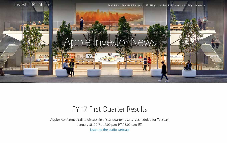 Apple、2017年第1四半期の決算発表を1月31日に行うと発表
