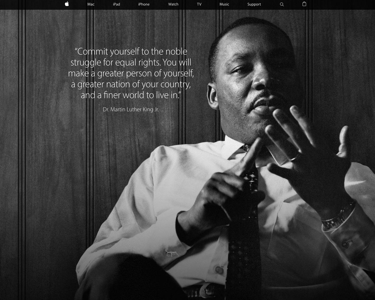 Apple、「マーチン・ルーサー・キング・ジュニア・デー」に合わせてトップページをキング牧師の写真に変更