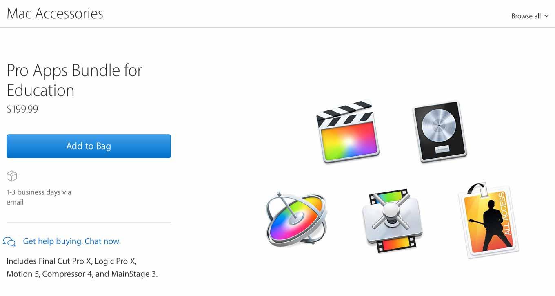 Apple、アメリカで学生・教職員向けにプロ向けアプリをセットにした「Pro Apps Bundle for Education」リリース
