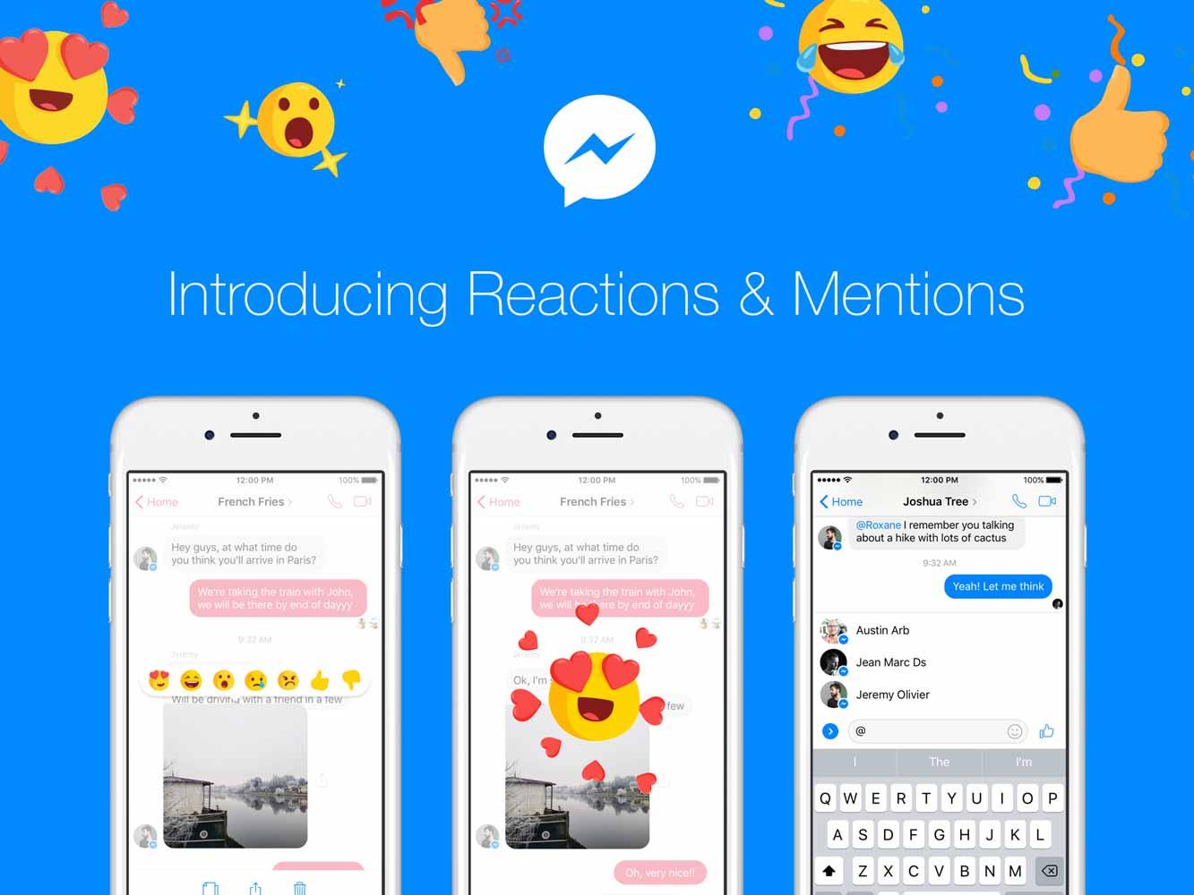 Facebook、「Messnger」に「メッセージリアクション」と「メンション」を導入 ― 日本でも近日提供開始