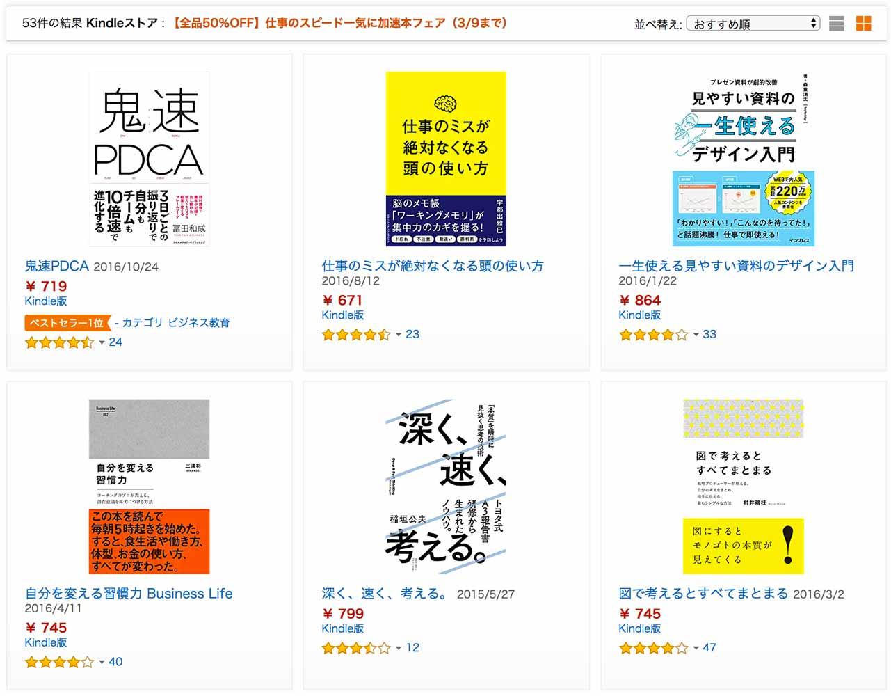 【全品50%オフ】Kindleストア、「仕事のスピード一気に加速本フェア」実施中(3/9まで)