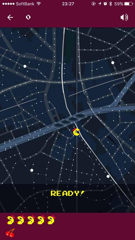 iOS向け「Googleマップ」アプリでリボンの付いた「ミズ・パックマン」がプレイ可能!