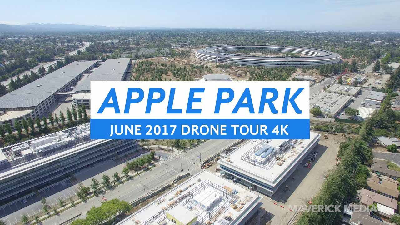 Appleの新社屋「Apple Park」建設現場の最新4K空撮動画「APPLE PARK June 2017 Drone Tour 4K」