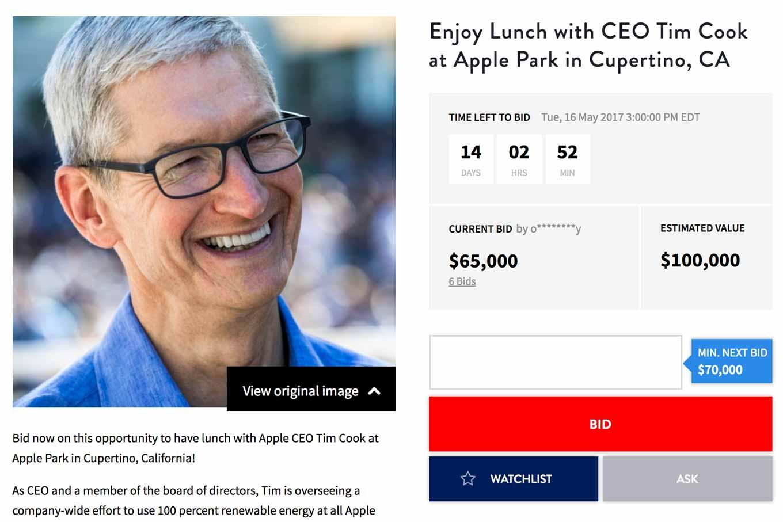Tim Cook CEOと「Apple Park」でランチができる権利がチャリティーオークションで出品中