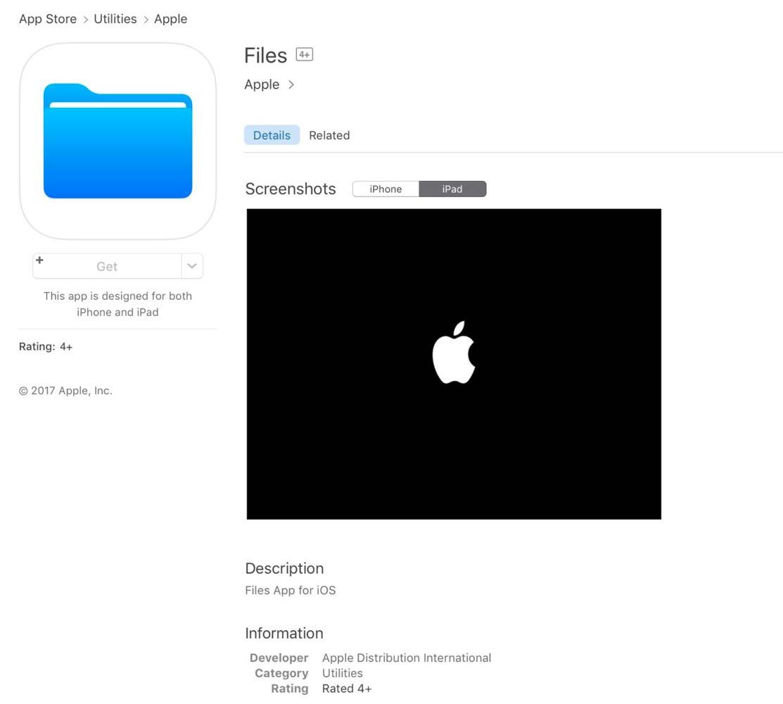 Apple、App Storeで 「iOS 11」以降で利用可能な未発表のiOS向け「Files」アプリを一時的に公開