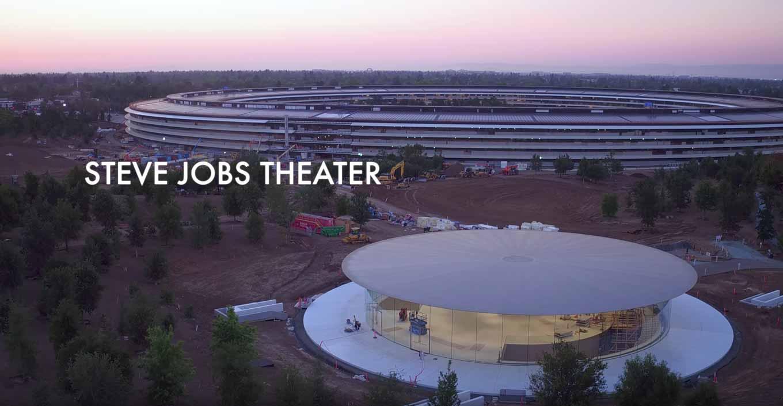 Appleの新社屋「Apple Park」の新しい空撮動画 ― 「Steve Jobs Theater」のロビーが見える映像も