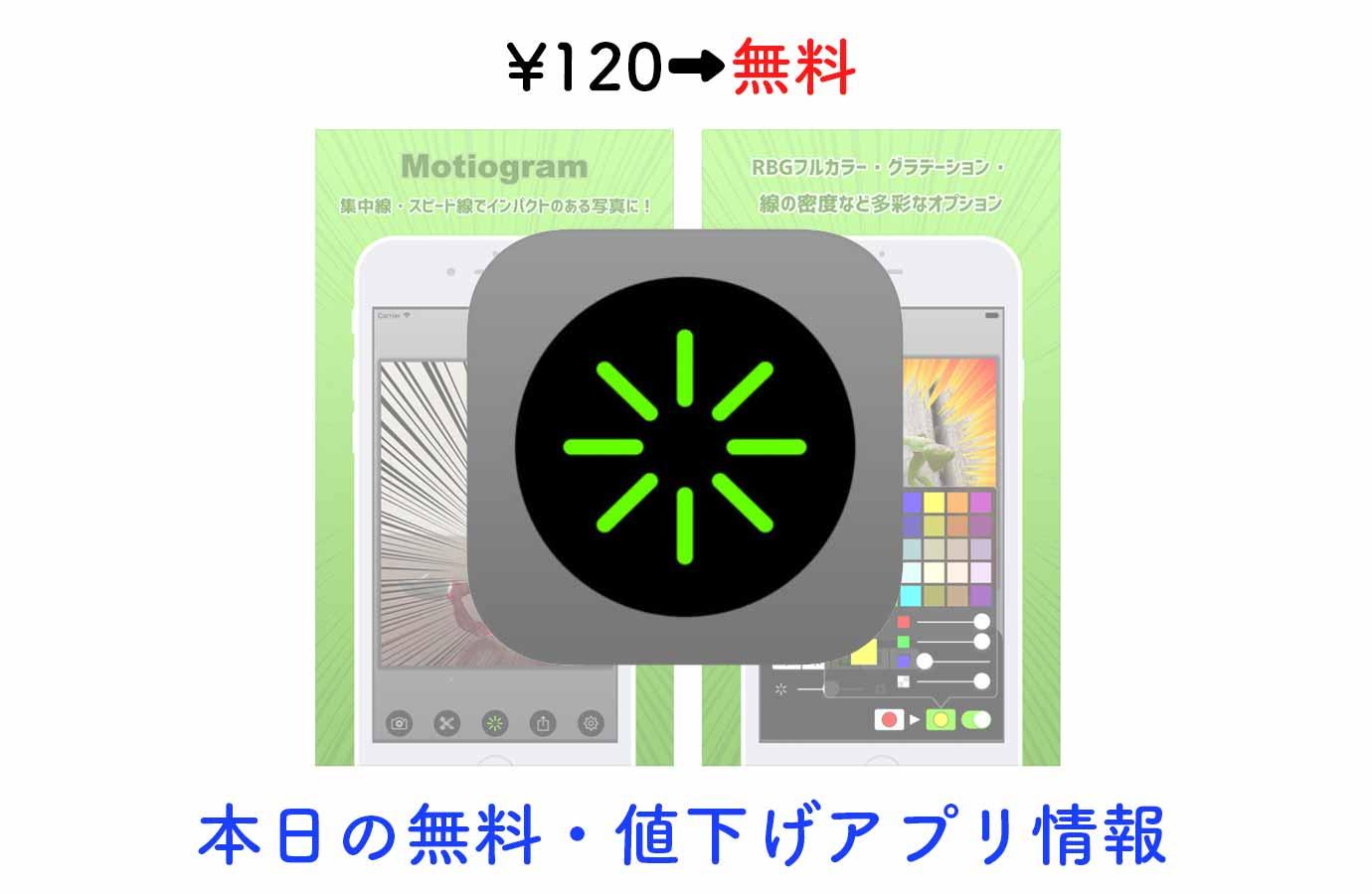 ¥120→無料、集中線やスピード線で写真にインパクトをだせる「Motiogram」など【7/26】本日の無料・値下げアプリ情報