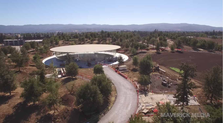 Appleの新社屋「Apple Park」の新しい空撮動画 ― 「Steve Jobs Theater」などで造園作業が進む