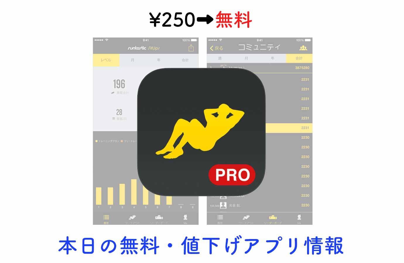 ¥250→無料、腹筋トレーニングサポートアプリ「Runtastic 腹筋 PRO」など【8/5】本日の無料・値下げアプリ情報