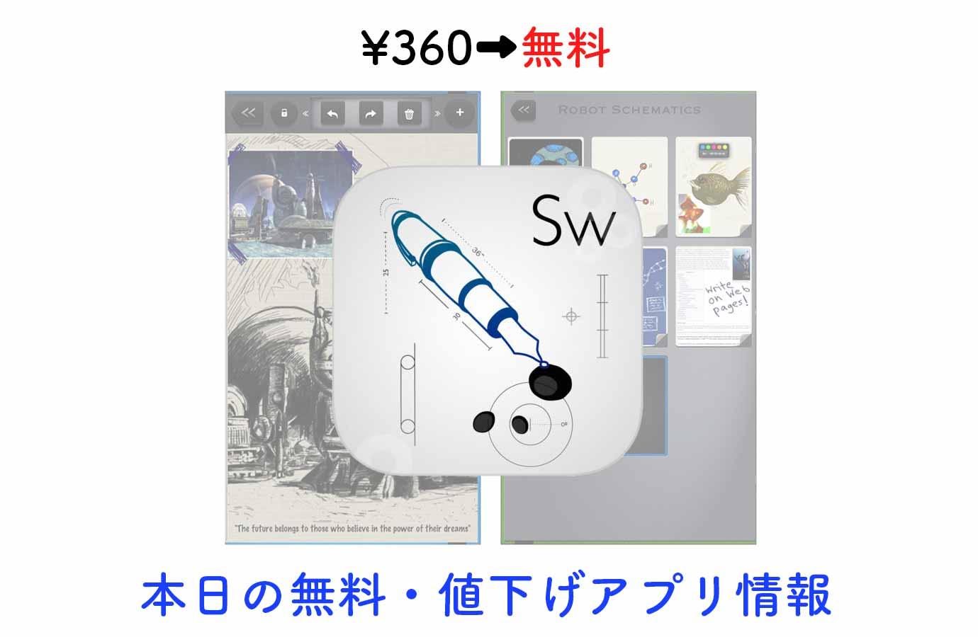 ¥360→無料、高機能スケッチノート・アプリ「Sketchworthy」など【8/14】本日の無料・値下げアプリ情報