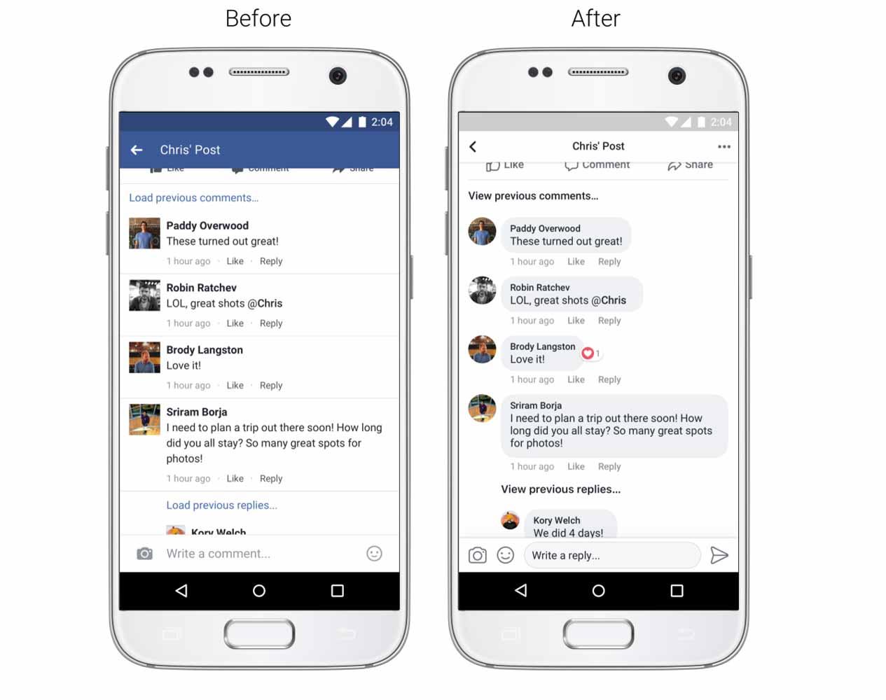 Facebook、ニュースフィードのデザインの変更を発表 ― アイコンは丸形に、コメントはメッセージアプリ風に