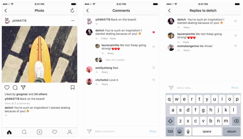 Instagram、コメントのスレッド表示に対応
