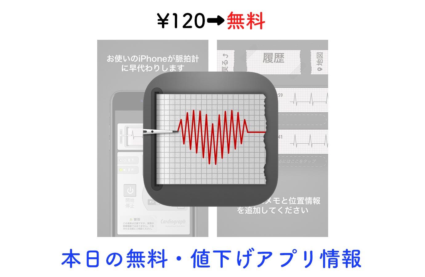¥120→無料、iPhoneのカメラを使って心拍数を計測できる「カーディオグラフ クラシック」など【10/10】本日の無料・値下げアプリ情報