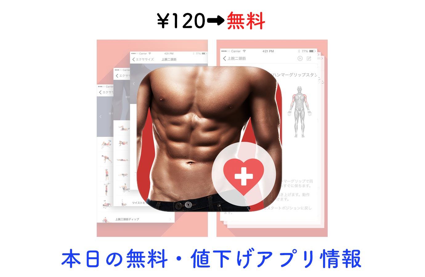 ¥120→無料、動画付き本格的な筋トレアプリ「Fitness & Bodybuilding」など【10/25】本日の無料・値下げアプリ情報