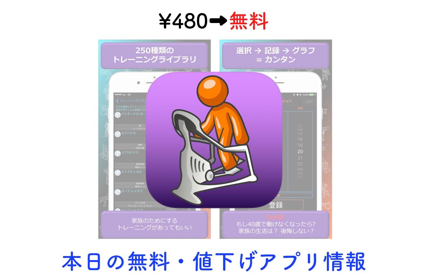 ¥480→無料、250種類のトレーニングから選べるワークアウト記録アプリ「じむろぐ」など【10/27】本日の無料・値下げアプリ情報