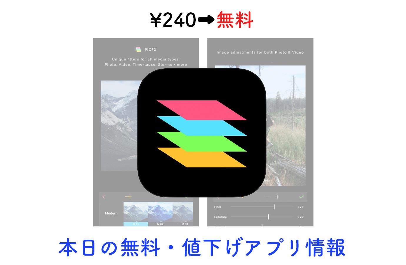 ¥240→無料、フィルターを重ねてかけられる写真加工アプリ「Picfx」など【11/1】本日の無料・値下げアプリ情報