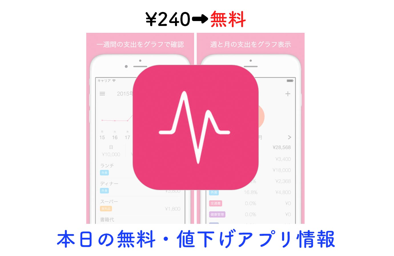 ¥240→無料、3つのグラフが分かりやすい支出管理アプリ「Spends」など【11/15】本日の無料・値下げアプリ情報