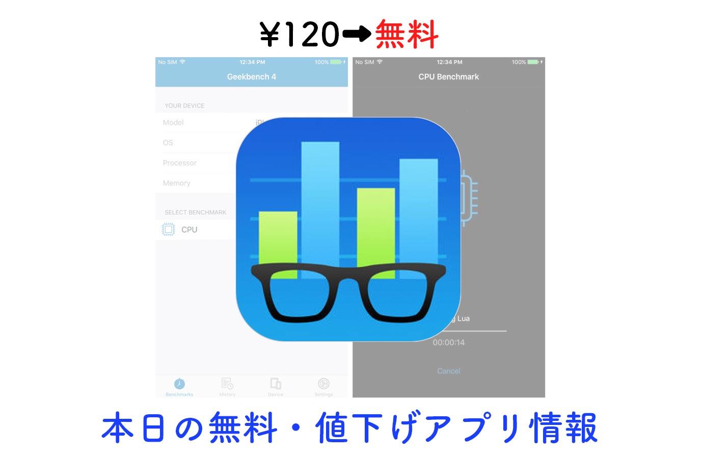 ¥120→無料、定番ベンチマークテストアプリ「Geekbench 4」など【11/25】本日の無料・値下げアプリ情報