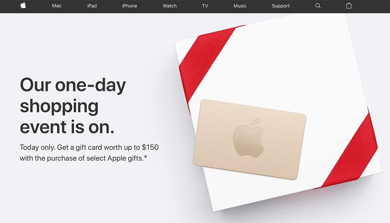 Apple、アメリカで1日限りの「ブラックフライデーセール」を開始 ― 製品購入で最大150ドルのApple Gift Cardを提供