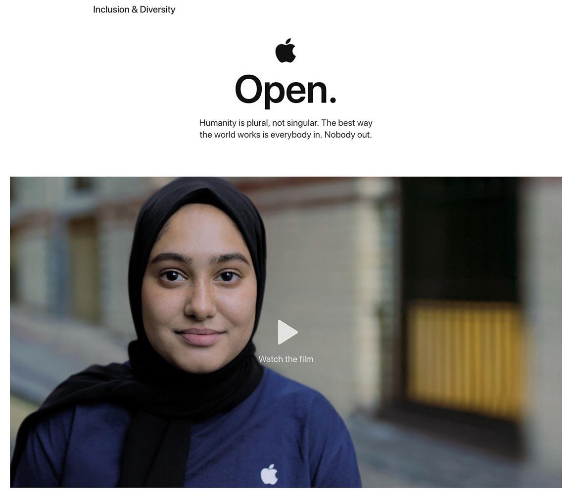 Apple、スタッフの多様性に関する最新レポートを公開 ― プロモーション動画「OPEN」も公開