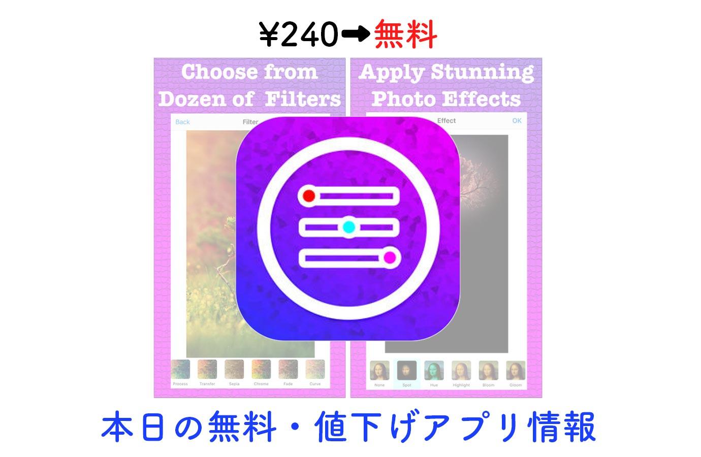 ¥240→無料、多数の機能が搭載された写真加工アプリ「Picture Perfect」など【12/20】本日の無料・値下げアプリ情報
