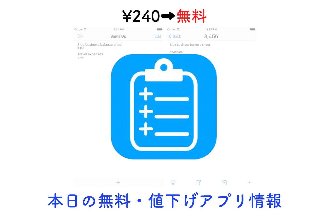 ¥240→無料、メモの中の数字を自動で合計してくれる計算機アプリ「Sums Up」など【1/17】本日の無料・値下げアプリ情報
