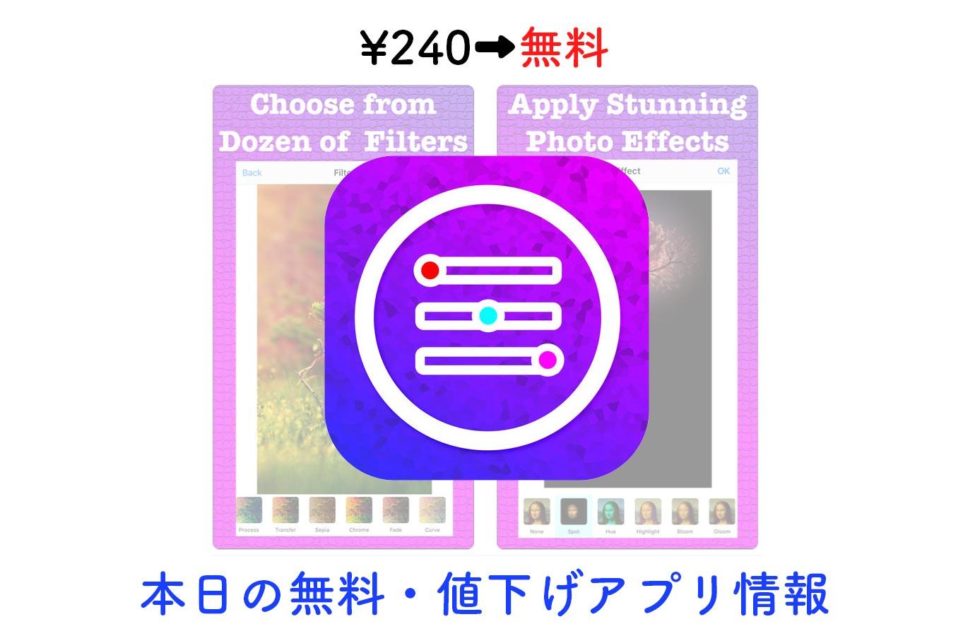 ¥240→無料、豊富な機能が特徴の写真加工アプリ「Picture Perfect」など【1/24】本日の無料・値下げアプリ情報