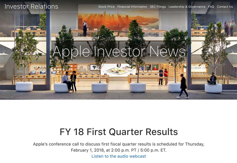 Apple、2018年第1四半期の決算発表を現地時間2月1日に行うと発表