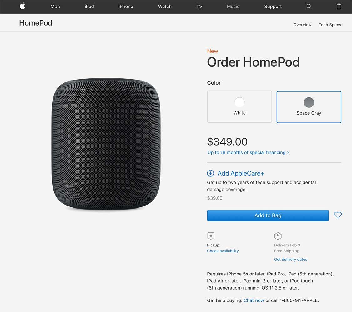 Apple、アメリカなどでスマートスピーカー「HomePod」の予約受付を開始